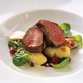 Venison with Alsatian potato dumplings (Grumbeereknepfle)