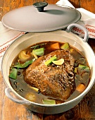 Braised beef with soup vegetables in pot