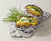 Baked potatoes with chive quark