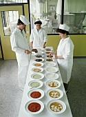 Test kitchen: tasting various dishes