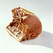 German smoked pork rib (Kassler) on a white background