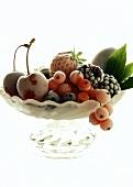 Frozen fruit in a glass bowl