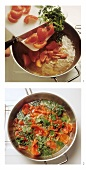 Sweating tomatoes with herbs in frying pan