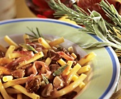 Macaroni with chicken liver, pancetta and sage in wine sauce