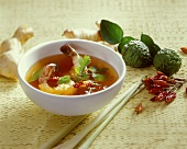 Hot and sour shrimp soup with chili and kafir limes
