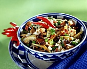Fried rice with vegetables and mushrooms in a food bowl