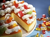 Sour cream citrus gateau with fruit jelly fruits