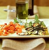 Zucchini alla scapece e Spiritosa di carote (vegetable dishes)