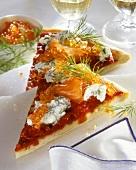 Pizza, Jewish style, with salmon, trout caviare & dill ricotta