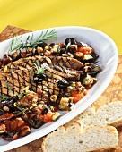 Fegato alla palermitana (Calf's liver on aubergines)