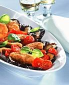 Scaloppine con le melanzane (Breaded escalopes with vegetables)