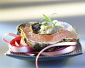 Oysters with rhubarb jelly