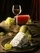 Roquefort with fruit, bread and wine glass