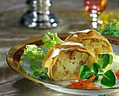 Potato strudel with onions and bacon
