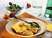 Pasta envelopes (Maultaschen) in soup plate; corn salad; onions