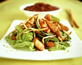 Vegetable stir-fry with poultry on Japanese plate