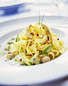 Tagliatelle funghi e porro (Ribbon pasta with mushrooms & leeks)