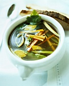 Consomme with vegetables and parsley