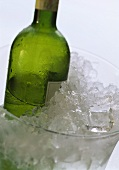 Half-full white wine bottle in ice bucket