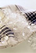 Crushed ice on tea towel