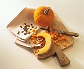 Whole pumpkin, pumpkin wedge, diced pumpkin & pumpkin seeds