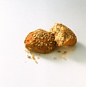 Whole and half wholemeal rolls