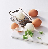 Boiled eggs with an egg slicer