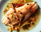 Dorade a la Veracruz with capers in a spicy sauce
