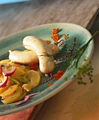 Pike-perch Weisswurst with potato salad and caviare