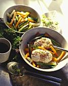 Monkfish on julienne vegetables; rice