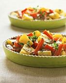Potato and carrot gratin with fresh marjoram