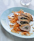 Chicken breast with gorgonzola stuffing and carrot strips