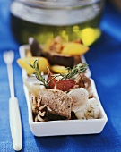 Mediterranean fish fondue with garlic, rosemary & olive oil