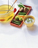 Vegetable fondue with lemon stock and herb dip