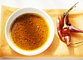 Spicy Canarian pepper sauce (Mojo picon) in bowl