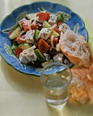 Greek peasant's salad with white bread and white wine