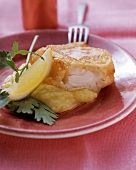 Fried fish with mashed potato, lemon wedge and parsley
