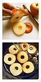 Preparing caramelised apple rings