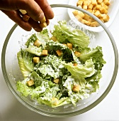 Scattering croutons on Caesar salad