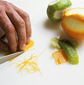 Cutting orange zest