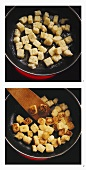 Sautéing croutons in frying pan