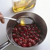 Preparing amaretto cherries