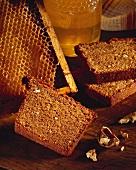 Honey cake, honeycomb and honey