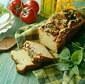 Tomato and basil loaf with ingredients