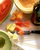Cutting melons into pieces