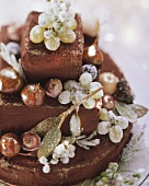 Chestnut cake with frosted fruit