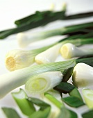 Spring onions, some cut up