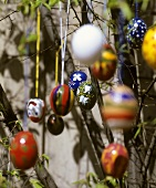 Painted Easter eggs on twigs