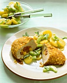 Stuffed turkey steaks with potato and cucumber salad