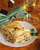 Sauerkraut lasagne with bacon and chives